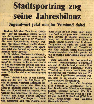 30.03.1981 Stadtsportring zog seine Jahresbilanz |Borken, Tauch Club Maritim e.V.