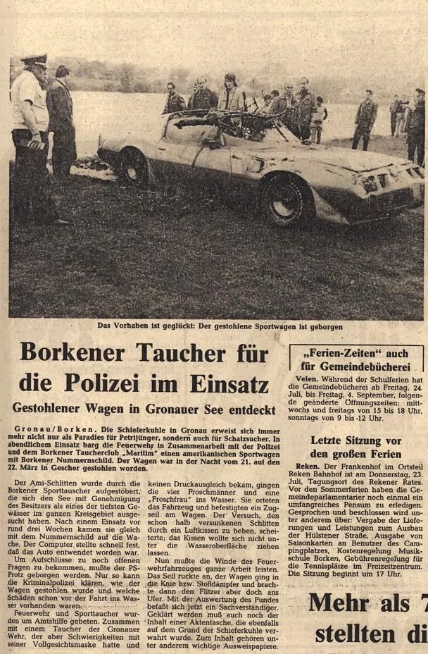 23.07.1981 Borkener Taucher für die Polizei im Einsatz |Borken, Tauch Club Maritim e.V.