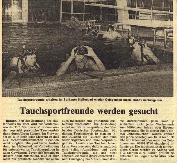 07.11.1981 Tauchsportfreunde werden gesucht | Borken, Tauch Club Maritim e.V.