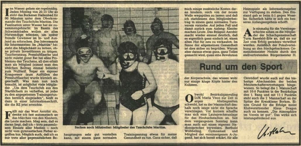 04.03.1983 Suchen noch Mitstreiter |Borken, Tauch Club Maritim e.V.