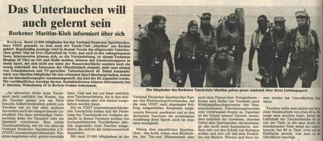20.07.1985 Das Untertauchen will auch gelernt sein | Borken, Tauch Club Maritim e.V.