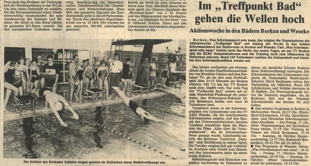 16.10.1986 Im Treffpunkt Bad gehen die Wellen hoch |Borken, Tauch Club Maritim e.V.