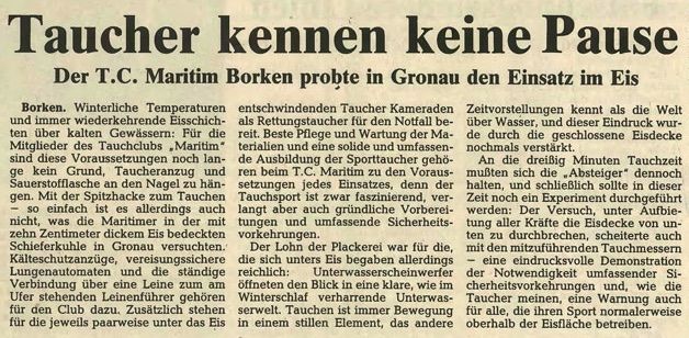 23.03.1987 Taucher kennen keine Pause |Borken, Tauch Club Maritim e.V.