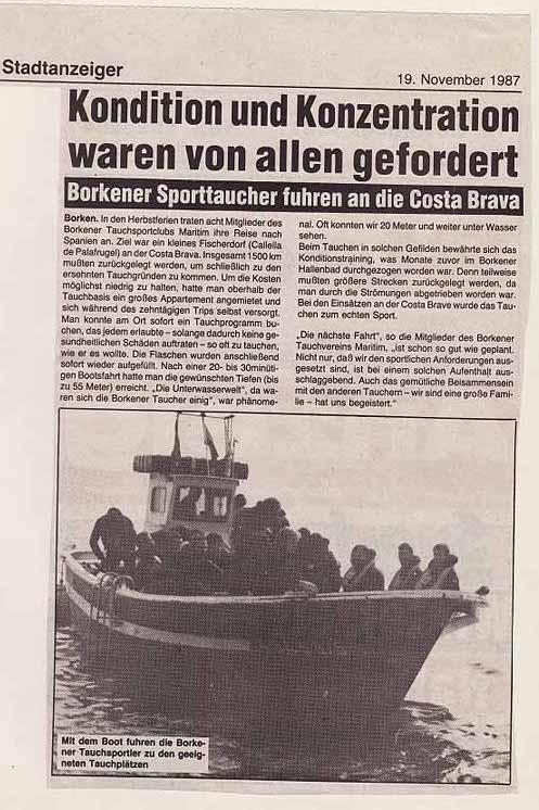 19.11.1987 Kondition und Konzentration waren von allen gefordert |Borken, Tauch Club Maritim e.V.