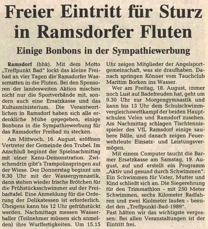 12.08.1989 Freier Eintritt für Sturz in Ramsdorfer Fluten |Borken, Tauch Club Maritim e.V.