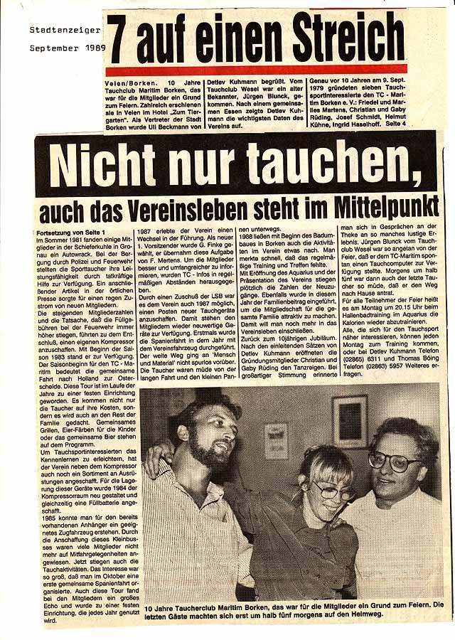01.09.1989 Nicht nur tauchen, auch das Vereinsleben steht im Mittelpunkt |Borken, Tauch Club Maritim e.V.