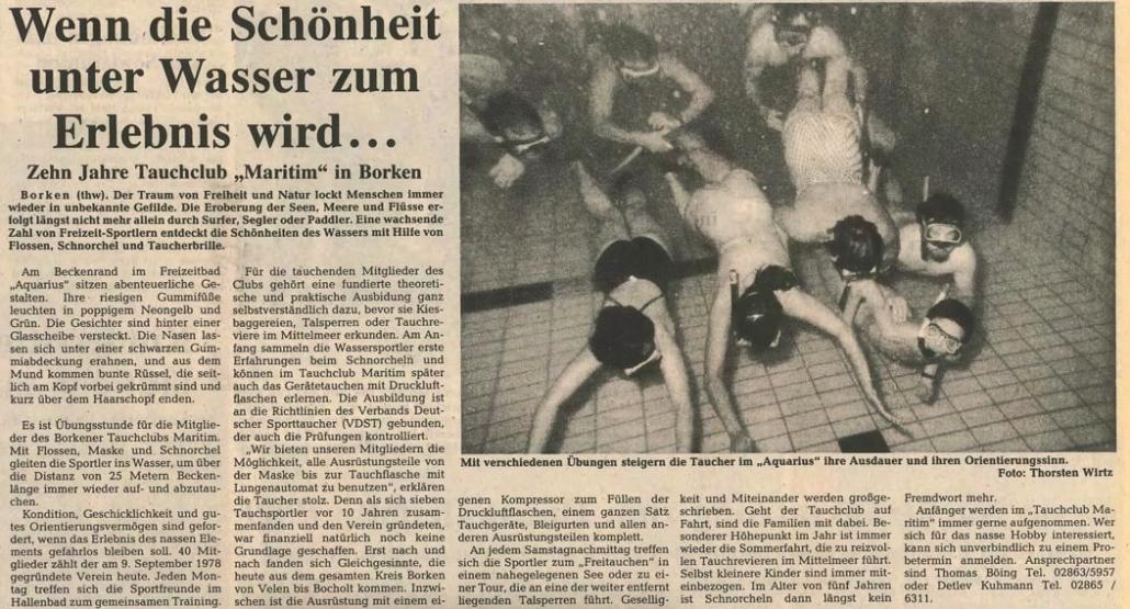 14.09.1989 Wenn die Schönheit unter Wasser zum Erlebnis wird |Borken, Tauch Club Maritim e.V.