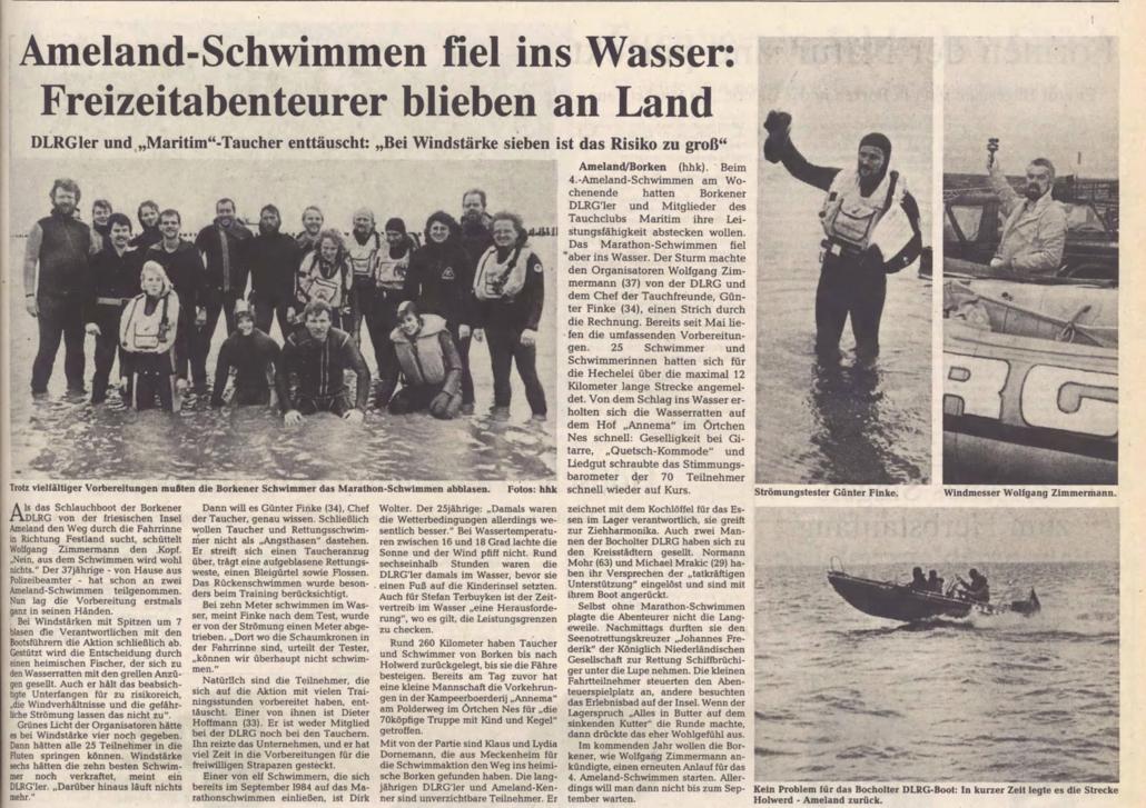 25.09.1990 Ameland Schwimmen fiel ins Wasser |Borken, Tauch Club Maritim e.V.