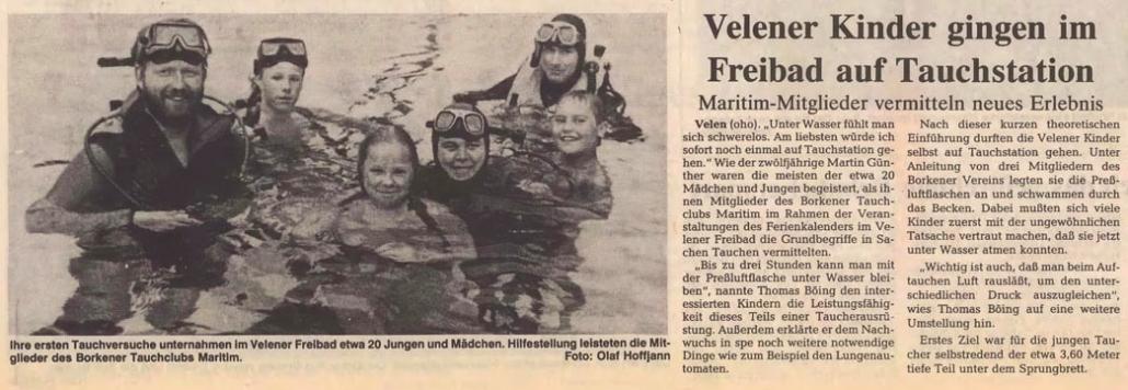 23.07.1991 Velener Kinder gingen im Freibad auf Tauchstation |Borken, Tauch Club Maritim e.V.