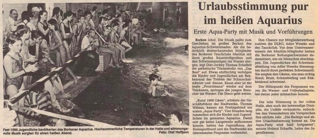 02.11.1992 Urlaubsstimmung pur im heißen Aquarius |Borken, Tauch Club Maritim e.V.