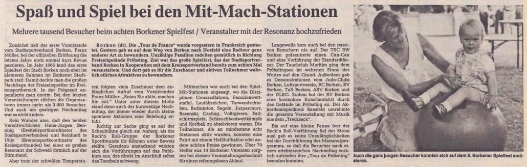 05.07.1993 Spaß und Spiel bei den Mit Mach Stationen |Borken, Tauch Club Maritim e.V.