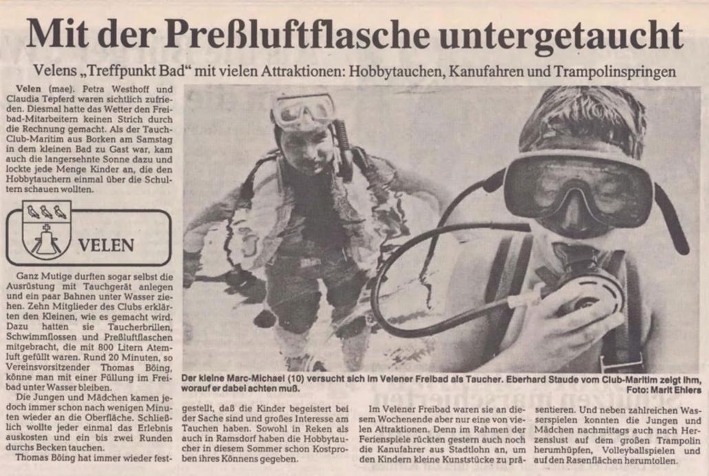 26.07.1993 Mit der Preßluftflasche untergetaucht |Borken, Tauch Club Maritim e.V.