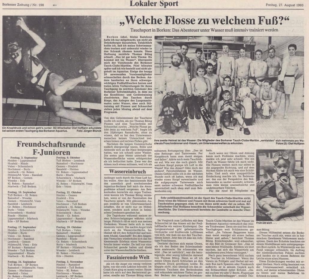 27.08.1993 Welche Flosse zu welchem Fuß |Borken, Tauch Club Maritim e.V.