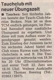 15.06.1994 Tauchclub mit neuer Übungszeit |Borken, Tauch Club Maritim e.V.