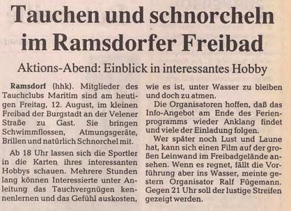 12.08.1994 Tauchen und schnorcheln im Ramsdorfer Freibad |Borken, Tauch Club Maritim e.V.