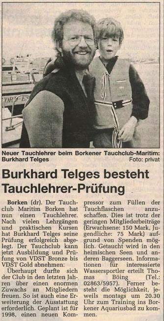 19.12.1997 Burkhard Telges besteht Tauchlehrer Prüfung |Borken, Tauch Club Maritim e.V.