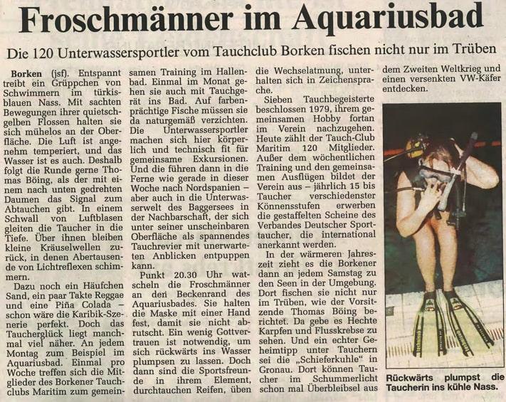 09.10.1999 Froschmänner im Aquariusbad |Borken, Tauch Club Maritim e.V.