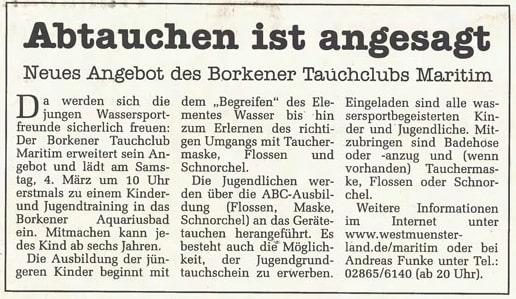 05.02.2000 Abtauchen ist angesagt |Borken, Tauch Club Maritim e.V.