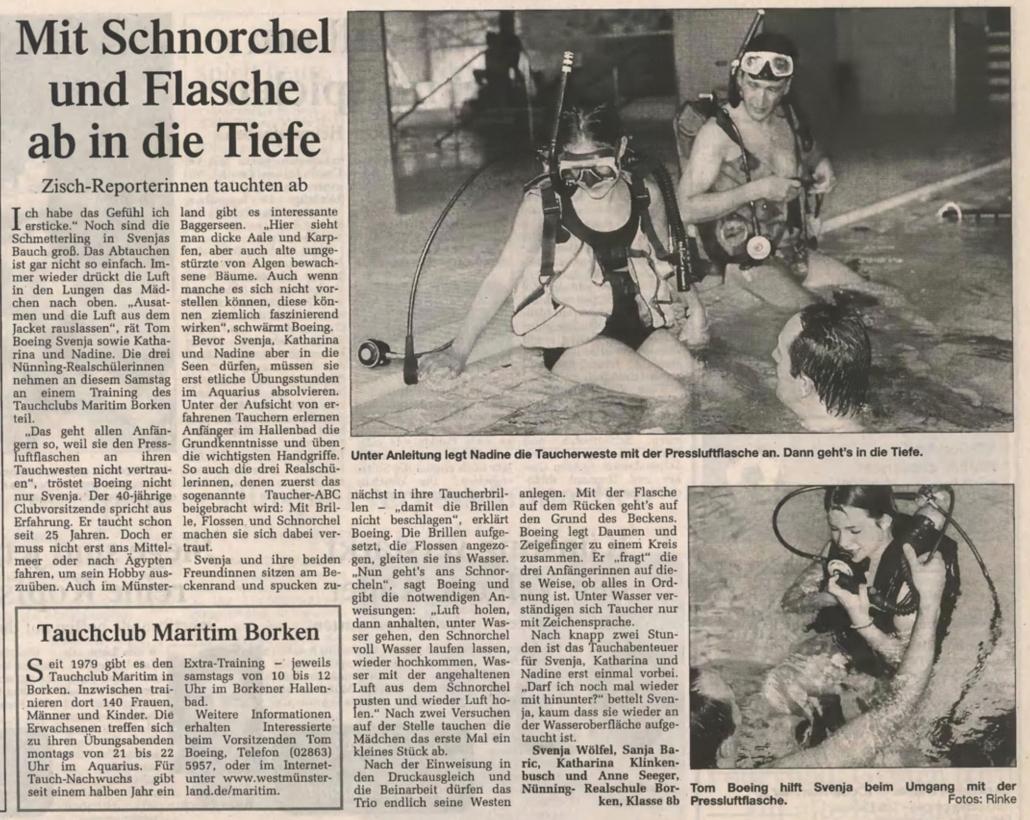 02.12.2000 Mit Schnorchel und Flasche ab in die Tiefe |Borken, Tauch Club Maritim e.V.