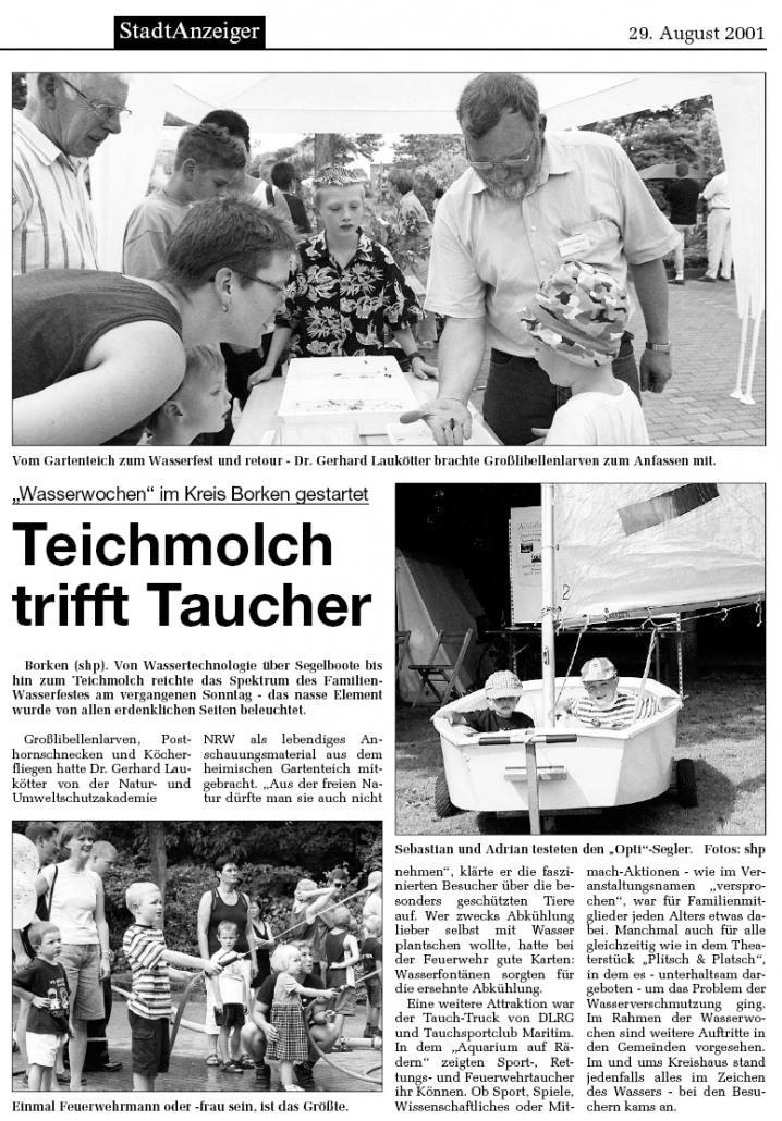 29.08.2001 Teichmolch trifft Taucher | Borken, Tauch Club Maritim e.V.