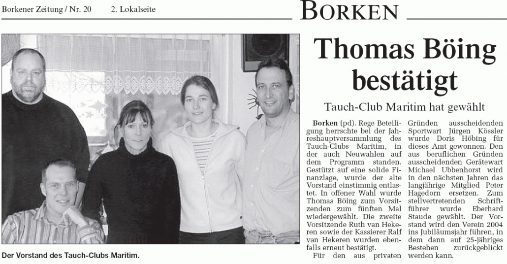 24.01.2003 Thomas Böing bestätigt |Borken, Tauch Club Maritim e.V.