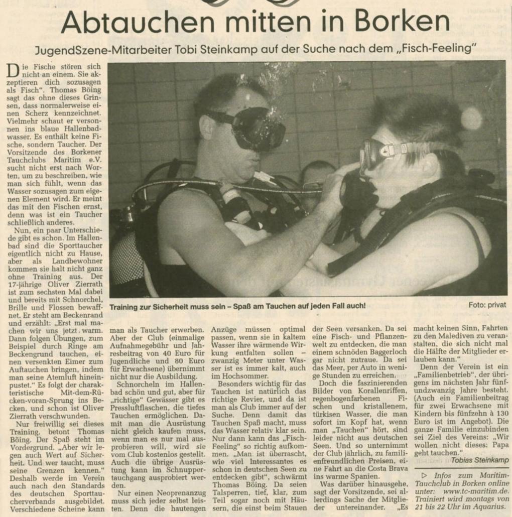 06.02.2003 Abtauchen mitten in Borken | Borken, Tauch Club Maritim e.V.