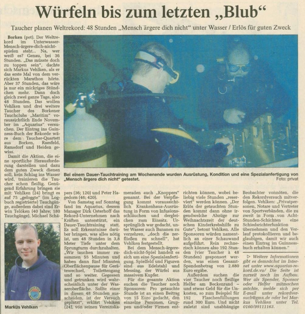 07.10.2003 Würfeln bis zum letzten Blub |Borken, Tauch Club Maritim e.V.