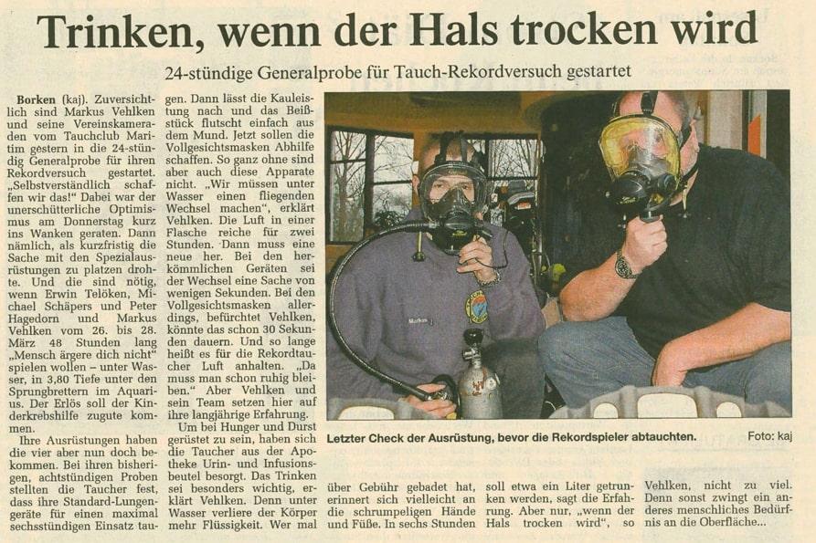 07.02.2004 Trinken, wenn der Hals trocken wird |Borken, Tauch Club Maritim e.V.