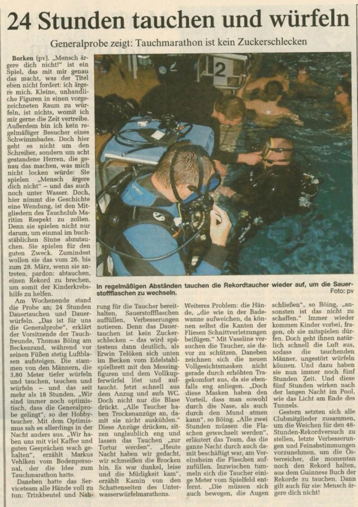 09.02.2004 24 Stunden tauchen und würfeln | Borken, Tauch Club Maritim e.V.