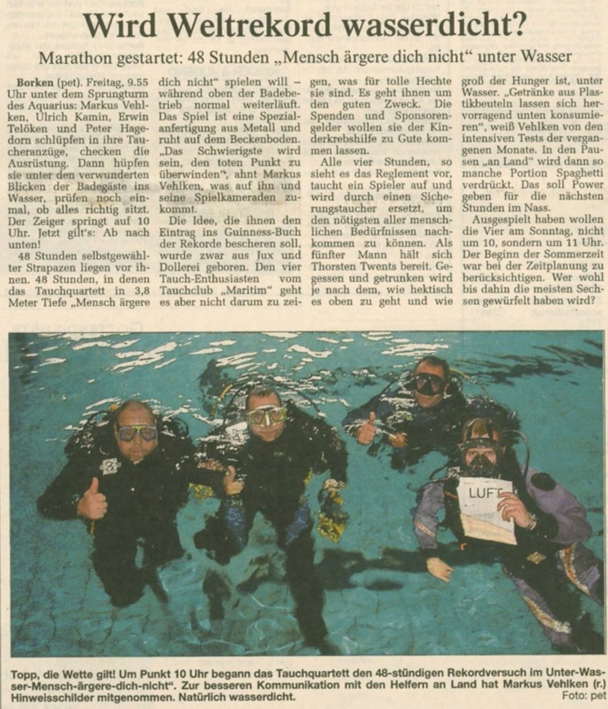 27.08.2004 Wird Weltrekord wasserdicht | Borken, Tauch Club Maritim e.V.