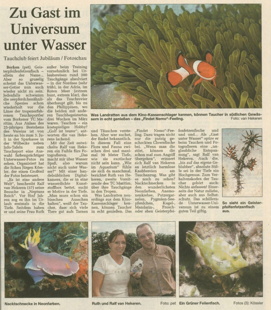 25.06.2004 Zu Gast im Universum Wasser | Borken, Tauch Club Maritim e.V.