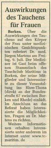 01.07.2004 Auswirkungen des Tauchens für Frauen | Borken, Tauch Club Maritim e.V.