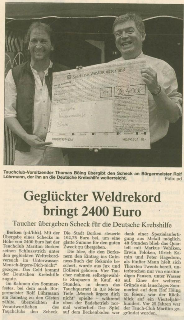 19.07.2004 Geglückter Weltrekord bringt 2400 Euro | Borken, Tauch Club Maritim e.V.