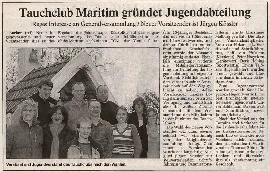 10.02.2005 Tauchclub Maritim gründet Jugendabteilung | Borken, Tauch Club Maritim e.V.
