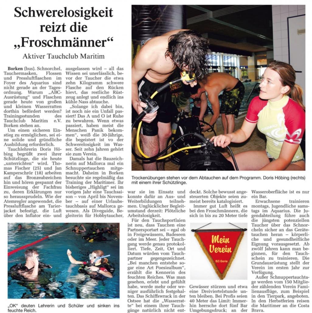 10.10.2006 Schwerelosigkeit reizt die Froschmänner | Borken, Tauch Club Maritim e.V.