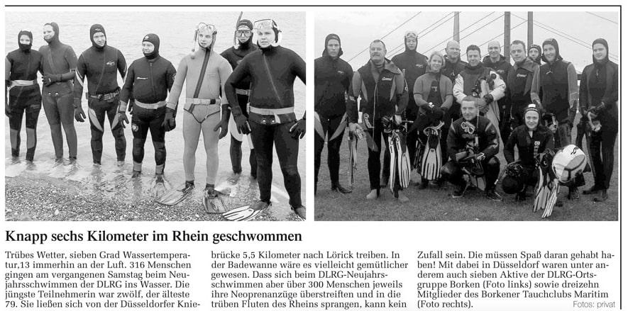 19.01.2007 Knapp sechs Kilometer im Rhein geschwommen | Borken, Tauch Club Maritim e.V.