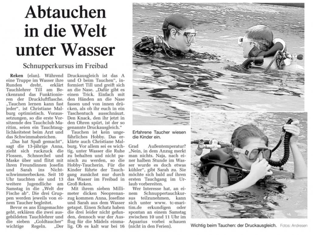 09.07.2007 Abtauchen in die Welt unter Wasser | Borken, Tauch Club Maritim e.V.