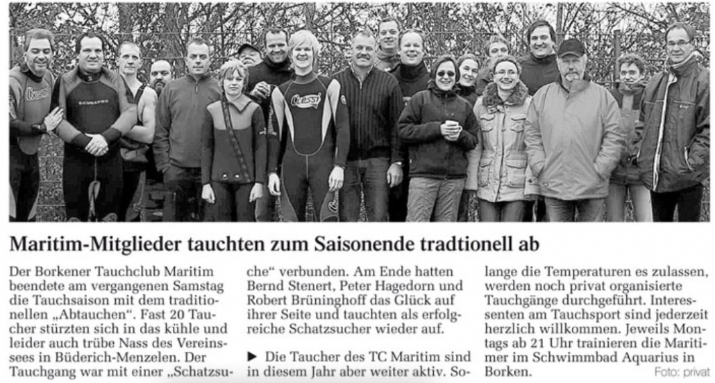 30.10.2008 Maritim Mitglieder tauchten zum Saisonende traditionell ab | Borken, Tauch Club Maritim e.V.