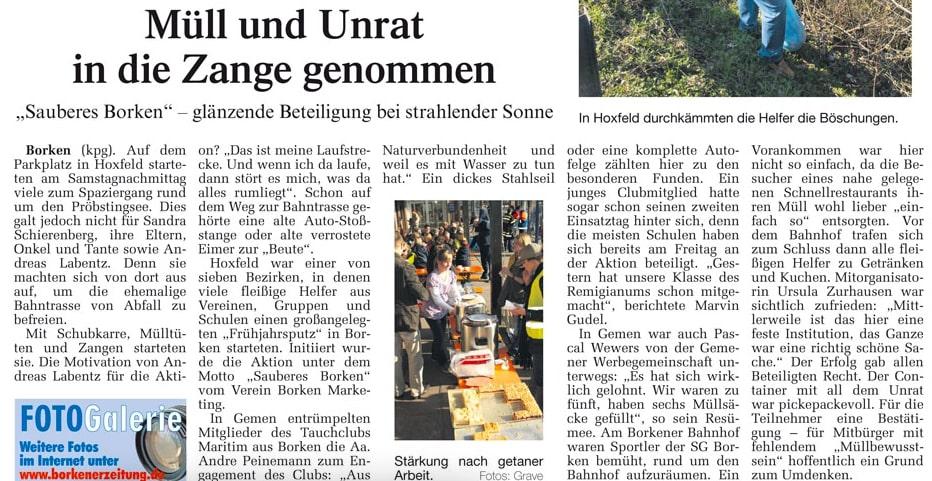 23.03.2009 Müll und Unrat in die Zange genommen | Borken, Tauch Club Maritim e.V.