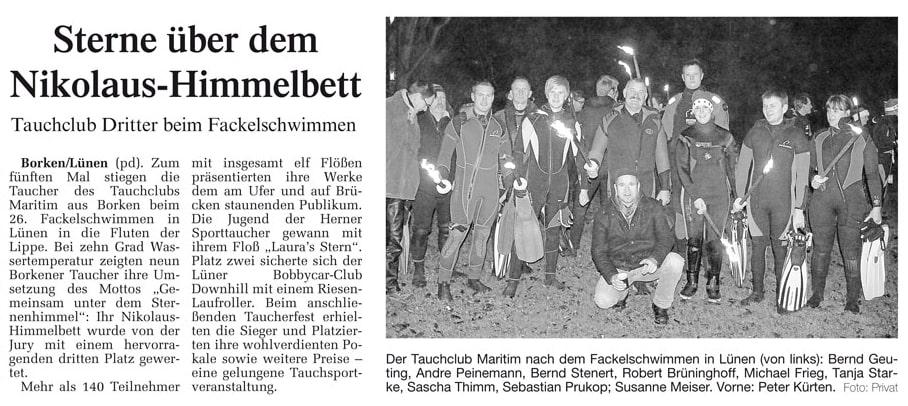 18.12.2009 Sterne über dem Nikolaus Himmelbett | Borken, Tauch Club Maritim e.V.
