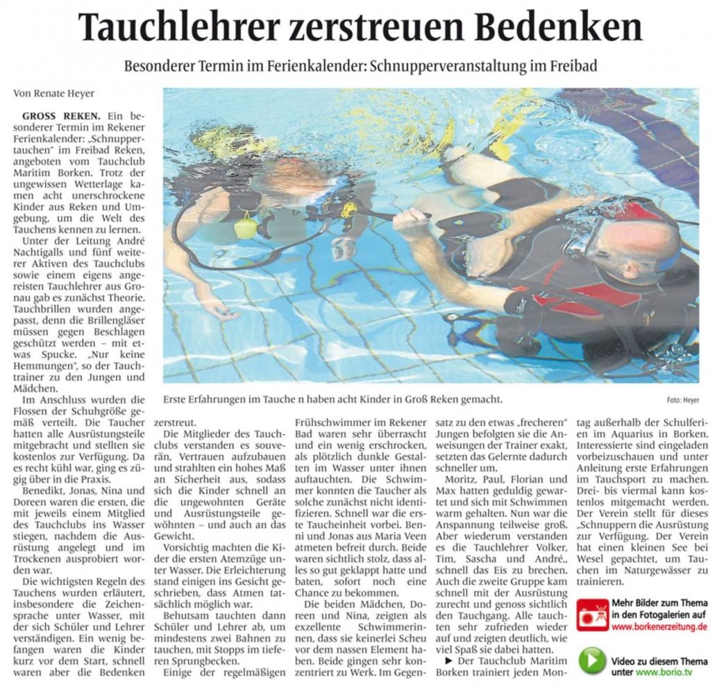 31.07.2012 Tauchlehrer zerstreuen Bedenken | Borken, Tauch Club Maritim e.V.
