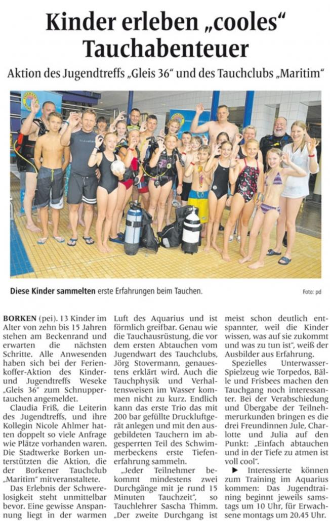 12.08.2015 Kinder erleben cooles Tauchabenteuer | Borken, Tauch Club Maritim e.V.