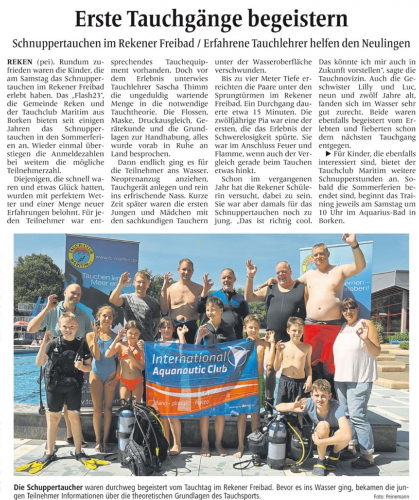 15.08.2015 Erste Tauchgänge begeistern | Borken, Tauch Club Maritim e.V.