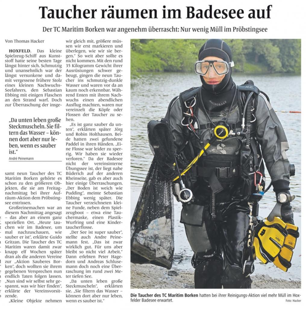 30.05.2016 Taucher räumen im Badesee auf | Borken, Tauch Club Maritim e.V.