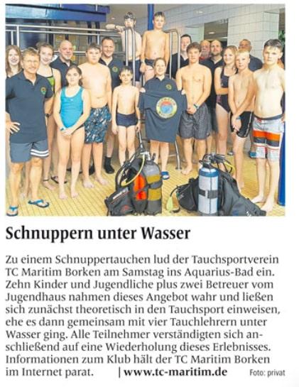 08.08.2016 Schnuppern unter Wasser | Borken, Tauch Club Maritim e.V.
