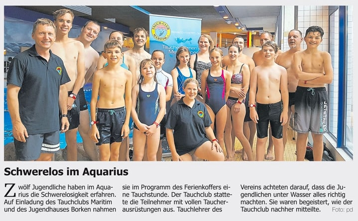 17.08.2017 Schwerelos im Aquarius | Borken, Tauch Club Maritim e.V.