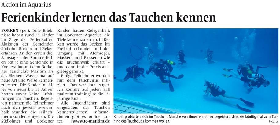 08.08.2019 Ferienkinder lernen das Tauchen kennen | Borken, Tauch Club Maritim e.V.