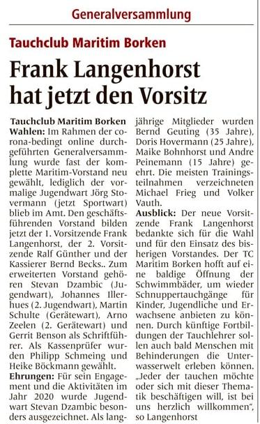 26.03.2021 Frank Langenhorst hat jetzt den Vorsitz | Borken, Tauch Club Maritim e.V