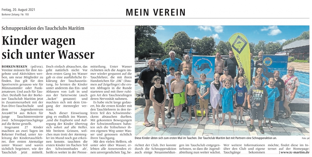 20.08.2021 Kinder wagen sich unter Wasser |Borken, Tauch Club Maritim e.V.